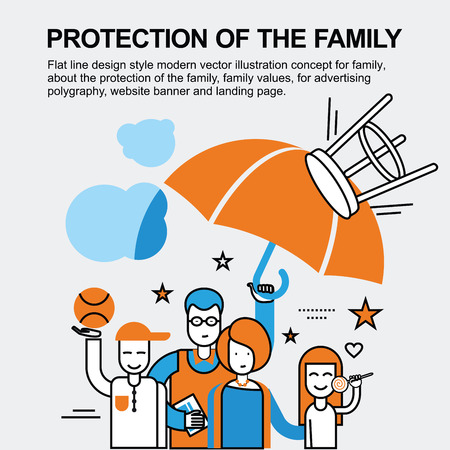 polygraphy: Flat line design style modern vector illustration concept for family, about the protection of the family, family values, for advertising polygraphy, website banner and landing page.
