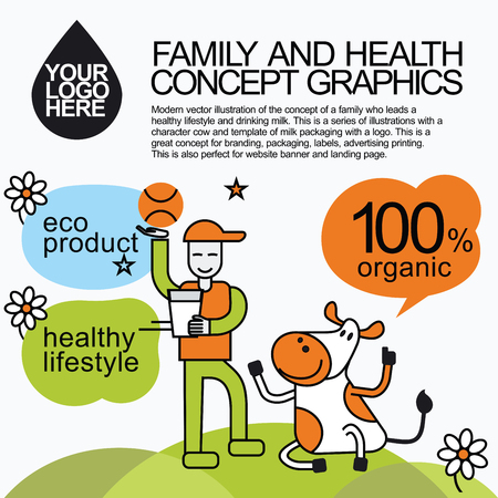 lady cow: Concept of a family who leads a healthy lifestyle and drinking milk. Character cow for milk packaging for branding, packaging, advertising printing, for website banner and landing page. Illustration