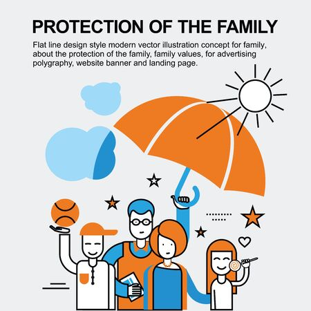 incident: Flat line design style modern vector illustration concept for family, about the protection of the family, family values, for advertising polygraphy, website banner and landing page.