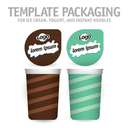 Big yogurt cup with lid on white. Collection of design templates packaging.
