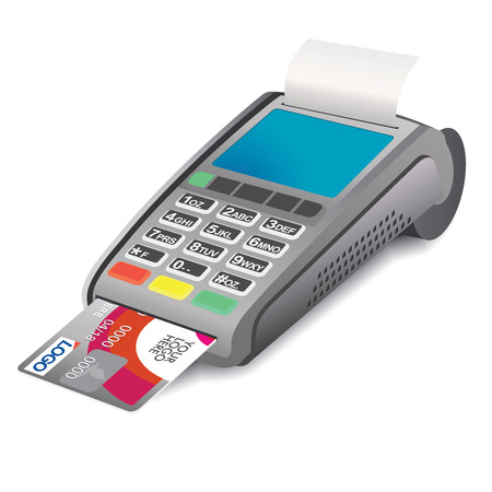 reciept: POS terminal with credit card and printed reciept on white background