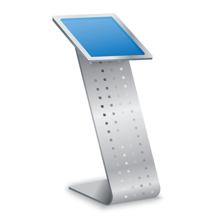 display: Vector Interactive Information Kiosk Terminal Stand Touch Screen Display, white background Illustration
