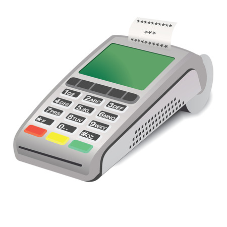 reciept: POS terminal with printed reciept on white Illustration