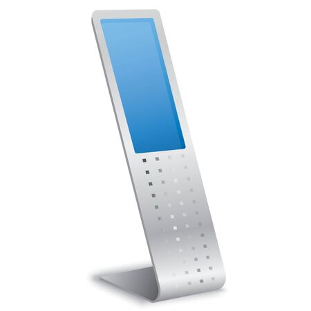 screen display: Vector Interactive Information Kiosk Terminal Stand Touch Screen Display, white background Illustration