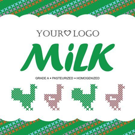 caballo bebe: Plantilla de dise�o de etiquetas de la leche con el concepto de punto de cruz