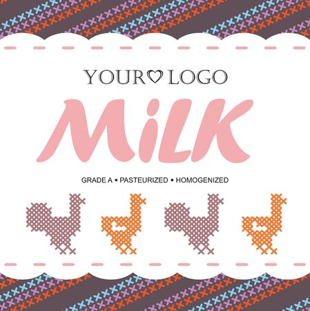 caballo bebe: Template label design milk with the concept of cross-stitch