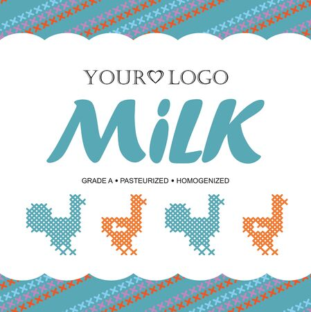dairy product: Template label design milk with the concept of cross-stitch