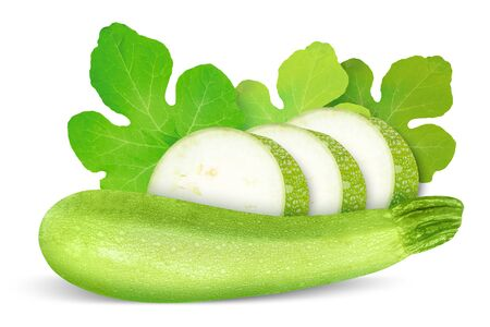 circlet: Zucchini courgette decorated with green leaf. Isolated on white