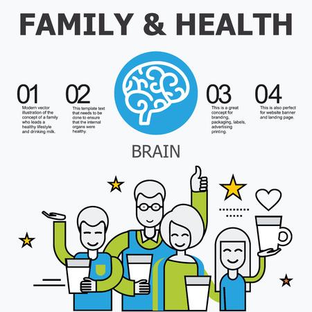 organos internos: Los �rganos internos - cerebro. La familia y un estilo de vida saludable. Iconos m�dicos infogr�ficas, �rganos humanos, anatom�a corporal. Iconos de vector de �rganos humanos Dise�o plano interno. Los �rganos internos iconos.