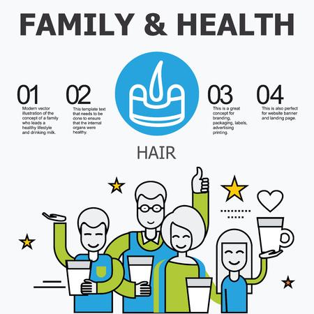 organos internos: Los �rganos internos - el pelo. La familia y un estilo de vida saludable. Iconos m�dicos infogr�ficas, �rganos humanos, anatom�a corporal. Iconos de vector de �rganos humanos Dise�o plano interno. Los �rganos internos iconos.