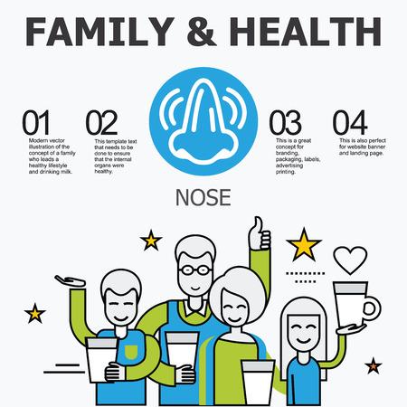 organos internos: - Los �rganos internos de la nariz. La familia y un estilo de vida saludable. Iconos m�dicos infogr�ficas, �rganos humanos, anatom�a corporal. Iconos de vector de �rganos humanos Dise�o plano interno.