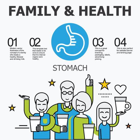 organos internos: - Los �rganos internos del est�mago. La familia y un estilo de vida saludable. Iconos m�dicos infogr�ficas, �rganos humanos, anatom�a corporal. Iconos de vector de �rganos humanos Dise�o plano interno. Los �rganos internos iconos.