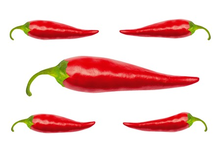 work path: Red hot chili peppers with isolated on white. Red hot chili peppers with work path. Spicy chilli peppers. Stock Photo