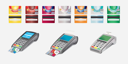 reciept: Credit Card Icon and POS terminal with printed reciept Isolated on white