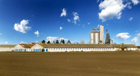 Silo di grano e fabbricati agricoli maiale nel cielo blu.