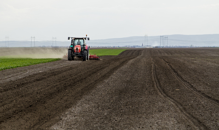 Farmer in tractor preparing land for sowing Stock fotó - 51838143