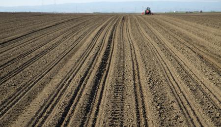 siembra: La tierra cultivable con el tractor en el fondo del ma�z de siembra de ma�z Foto de archivo