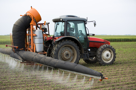 Tractor sraying crops field