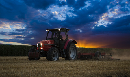 Tractor cultivating wheat stubble field at sunset, crop residue.