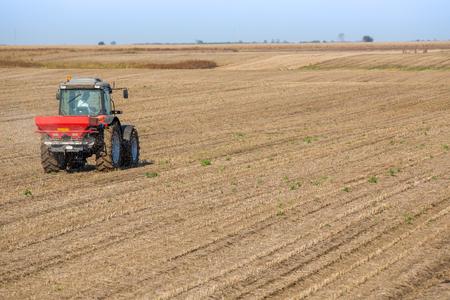 fertilizing: Farmer fertilizing soybean residues field with nitrogen, phosphorus, potassium fertilizer Stock Photo
