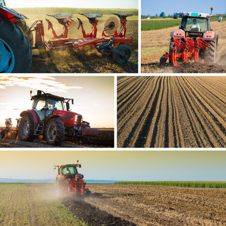 arando: Collage agr�cola de campos tractor arando