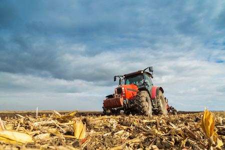 field crop: Farmer plowing with red tractor Stock Photo