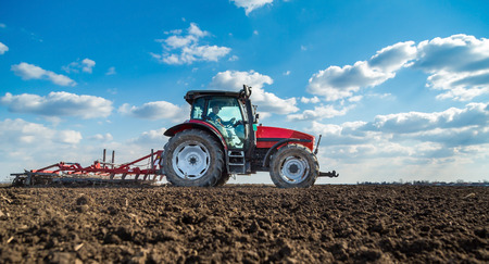 seed bed: Farmer in tractor preparing land with seedbed cultivator