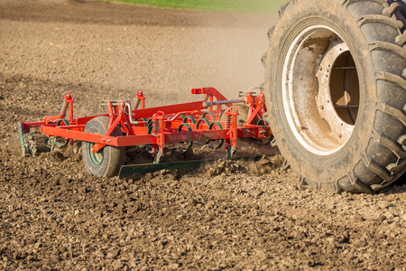 cultivator: Close up shot of seedbed cultivator machine at work