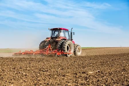 cultivator: Farmer in tractor preparing land with seedbed cultivator