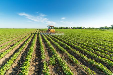 Spraying soybean crops Stock Photo