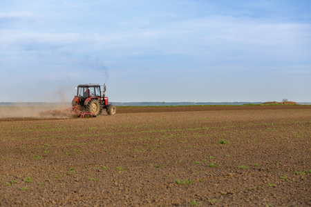 Farmer cultivating arable land before seeding