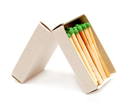 Box with matches on a white background photo