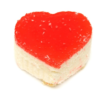 Cake in the form of heart isolated on white background photo