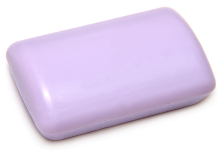 glycerin soap: Purple soap isolated on white background