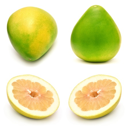 pummelo: Pomelo fruit collection isolated on a white background Stock Photo