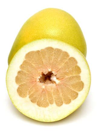 pomelo: Sliced pomelo isolated on white background