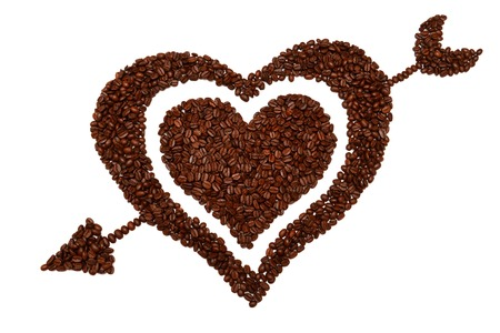 love pic: Heart from coffee beans isolated on white background Stock Photo