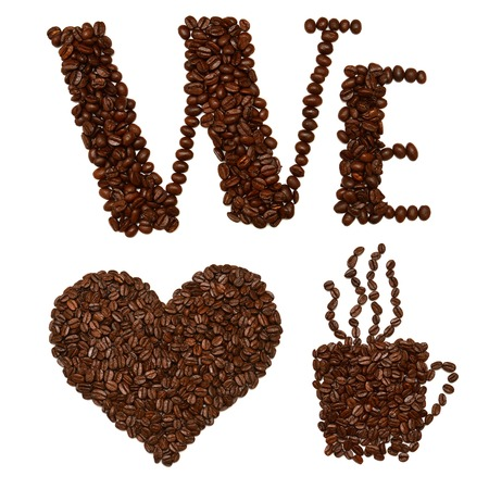 love pic: We love coffee. Shapes made from coffee beans isolated on white background Stock Photo
