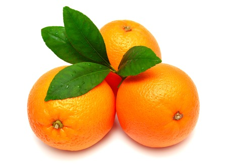 sweet segments: Sweet orange fruit with leaf on white background