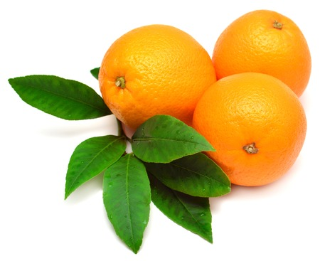 Sweet orange fruit with leaf on white background