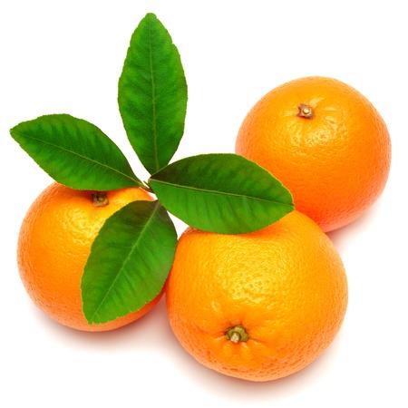 白い背景の上の葉と甘いオレンジ色の果物
