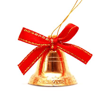 campanas de navidad: Campana de Navidad aislado sobre fondo blanco Foto de archivo