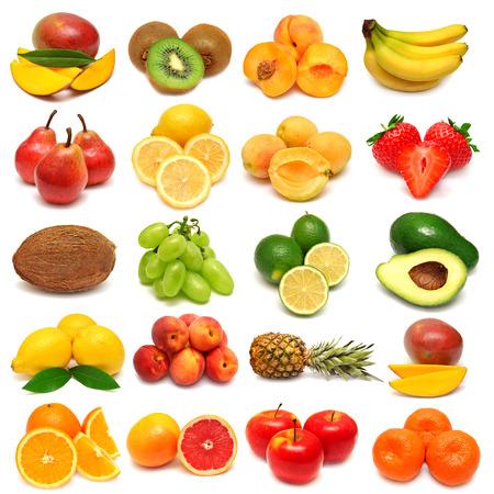 新鮮な果物の白い背景で隔離のコレクション
