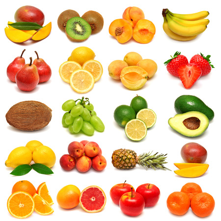 Collection of fresh fruits isolated on white background Zdjęcie Seryjne - 35977177