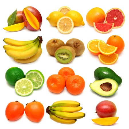Collection of fresh fruits isolated on white background photo