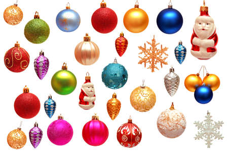 Collection of Christmas toys for the Christmas tree isolated on white background photo