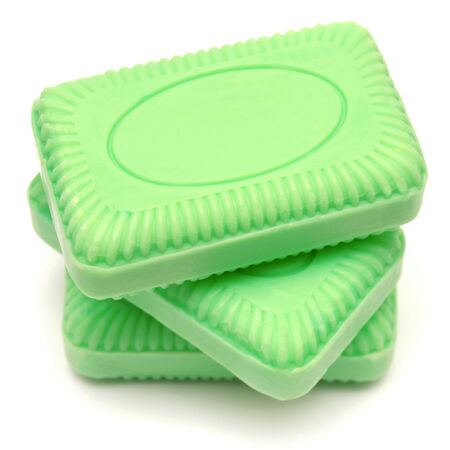 glycerin soap: Green soap isolated on white background