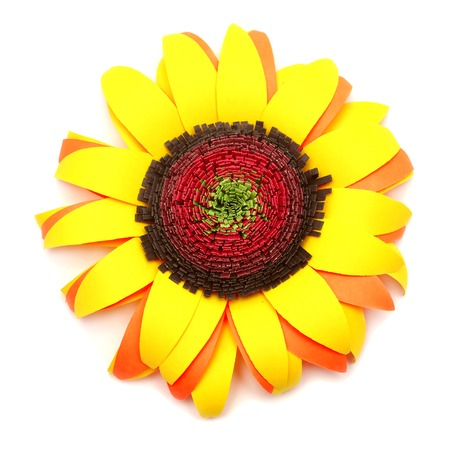 Origami Sunflower Isolated On White Background Stock Photo Picture