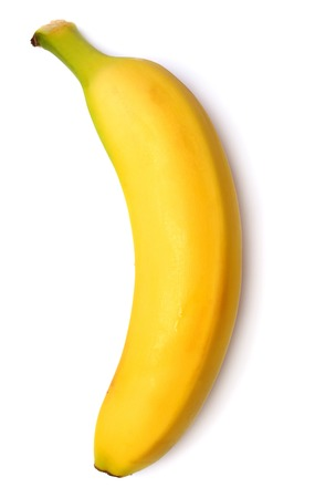 Single banana against white background Banque d'images