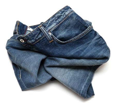 rumpled: Rumpled jeans isolated on white background